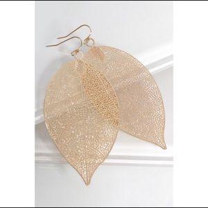 Real Leaf Skeleton Gold Dipped Earrings